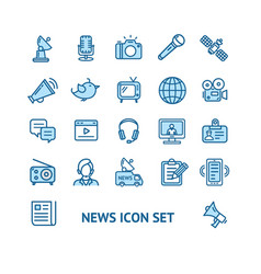 news sign color thin line icon set vector image