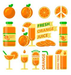 Orange fuit and fresh juice flat elements vector
