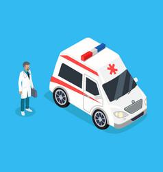 Paramedic with medicine kit and ambulance car vector