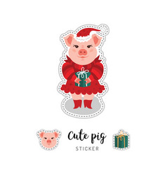 pig patch a pink pig in a red dress and a hat vector image