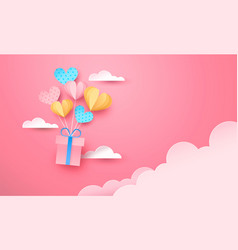 Pink paper gift box flying in sky heart balloon vector