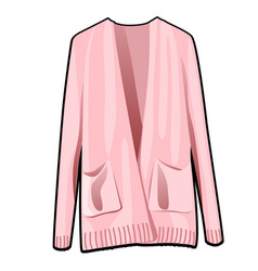 pink womens jacket with pockets isolated on white vector image