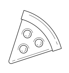 pizza slice line icon vector image