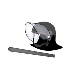 Police helmet and nightstick on white background vector