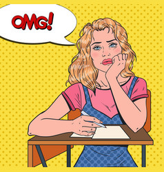 Pop art lazy female student sitting on the desk vector