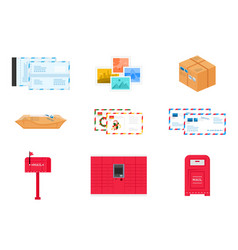 Postal delivery service icons and objects set vector