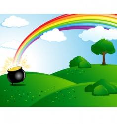 Pot gold at end rainbow vector