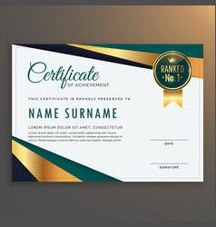 Premium modern certificate template design vector