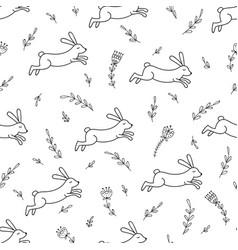 rabbit line seamless pattern vector image