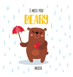 rainy beary vector image
