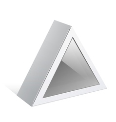 Realistic white package triangular shape box vector