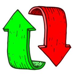 red and green cycle arrows hand drawn colored vector image