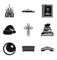 Religion sign icons set simple style vector