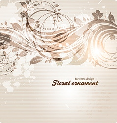Retro floral ornament design vector