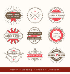 Retro modern hipster wedding logo frame badge vector