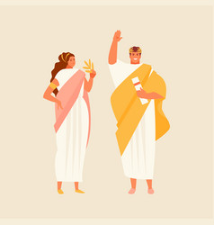 Roman citizens man and woman vector