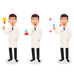 Scientist man handsome cartoon character vector