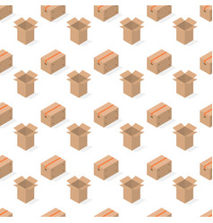seamless background from a set cardboard boxes vector image