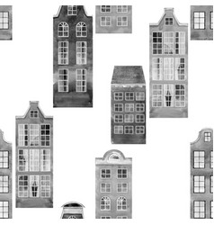 seamless pattern old european city houses vector image