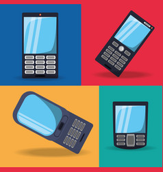 Set differents design of smartphone technology vector