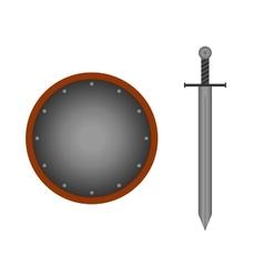 Set round shield sword silver 1505 vector