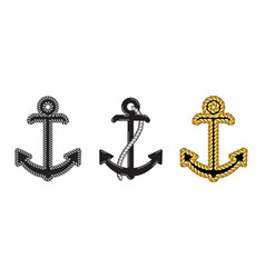 set three nautical anchor logo icon maritime vector image