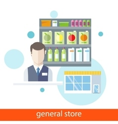 Shelfs with Food General Store vector