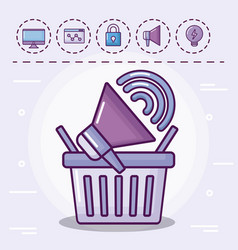 Shopping basket with set icons vector