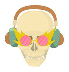 Skull with headphones icon cartoon style vector