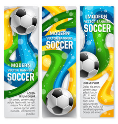 soccer ball banner of football sport club template vector image