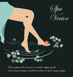 Spa legs slim and long woman legs on the spa vector
