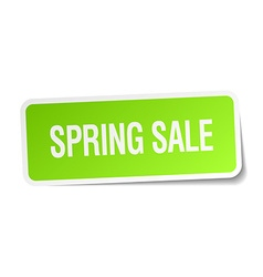 Spring sale green square sticker on white vector
