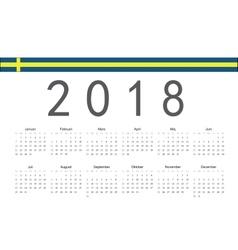 Swedish 2018 year calendar vector