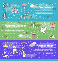 thin line style design volunteer banner set vector image
