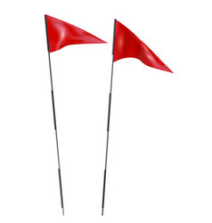 two red golf flags set golf flags on a white vector image