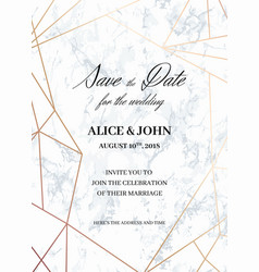 Wedding invitations template of geometric design vector