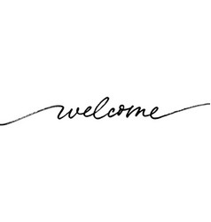 Welcome word hand drawn line calligraphy vector