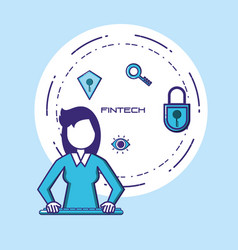 Woman using keyboard fintech concept vector