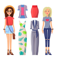 Young stylish girls with modern summer clothes set vector