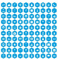 100 holidays icons set blue vector image