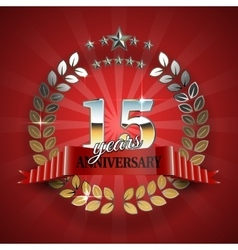 Anniversary 15th gold wreath with red ribbon vector image