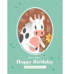 Cute Cow Animal Cartoon Birthday card design vector image vector image