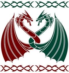Dancing dragons vector