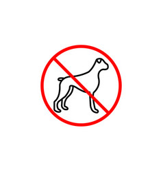 no dog line icon prohibition sign forbidden vector image