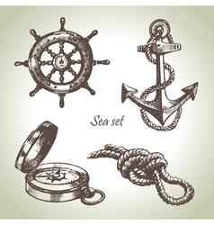 Sea set of nautical design elements vector image vector image