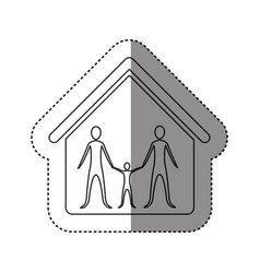 sticker of monochrome contour of family in home vector image