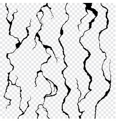 wall cracks isolated on transparent background vector image