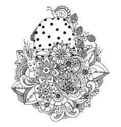 zentangl flowers mushroom vector image vector image