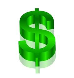 3d green dollar symbol vector image