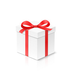 gift cube box with red color bow knot and ribbon vector image vector image